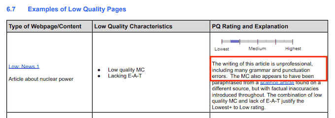 Grammar and Spelling Search Quality