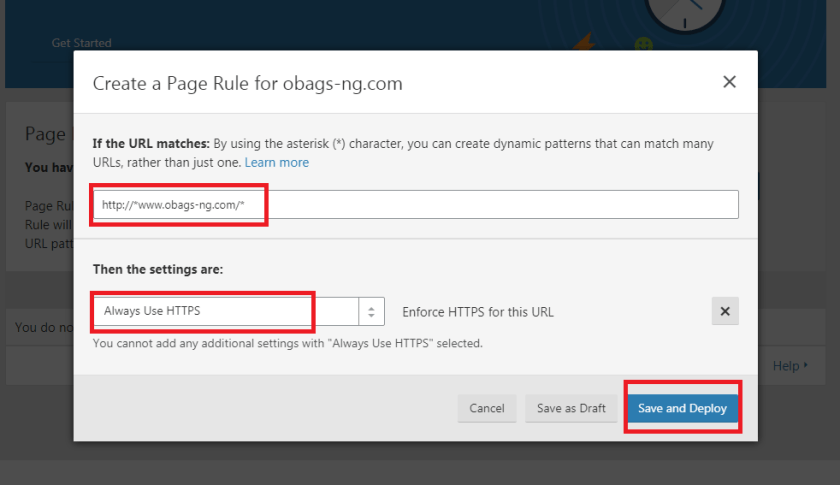 setting cloudflare always https page rule