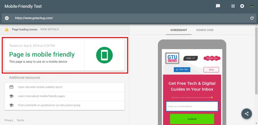 GoTechUG Mobile friendly test