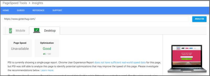 page speed insights by google