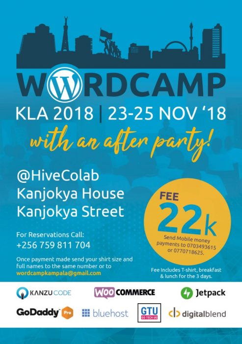 WordPress Kampala ad and sponsors