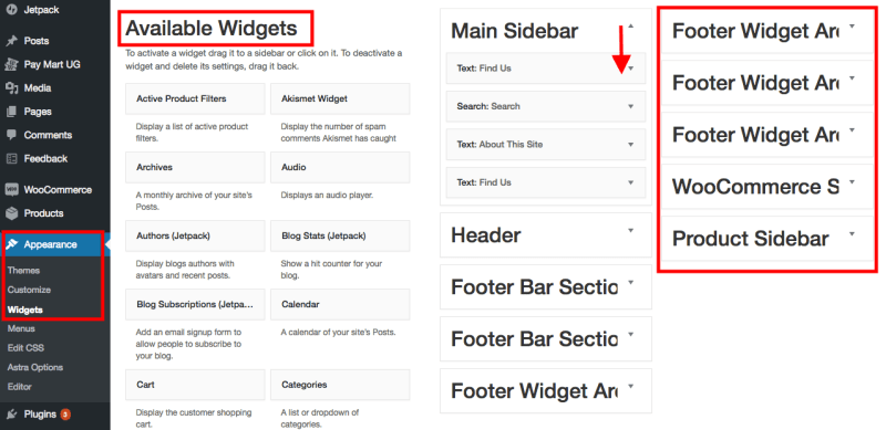 widgets and sidebars