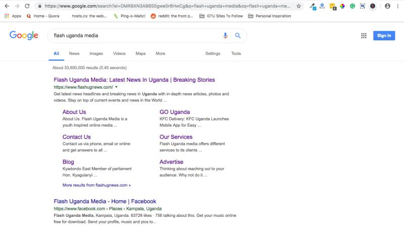 Sitelinks on Flash Uganda Media