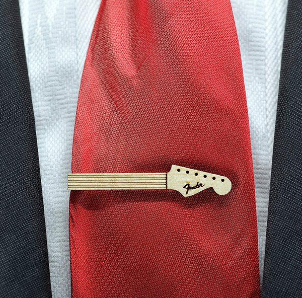 Guitar neck Tie Clip  Maple wood tie bar  Goth Chic