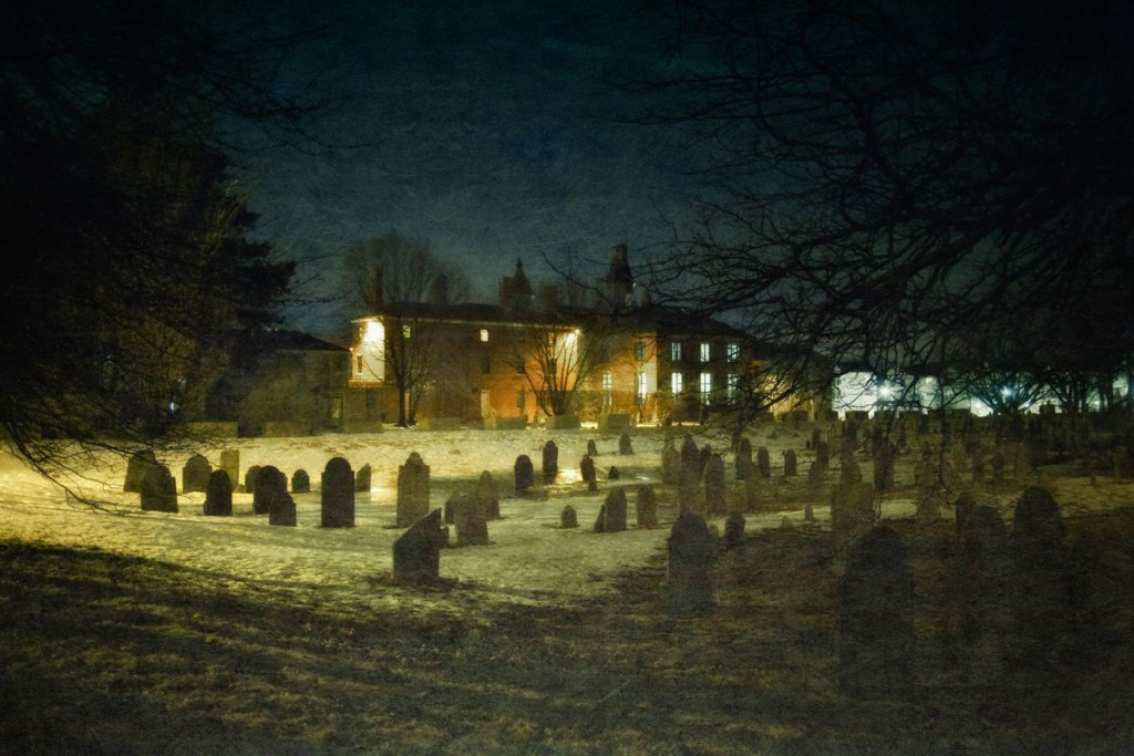 Giles Corey was pressed to death by heavy stones in the field which is now the Howard Street Burial Ground, adjacent to the old Salem Jail.