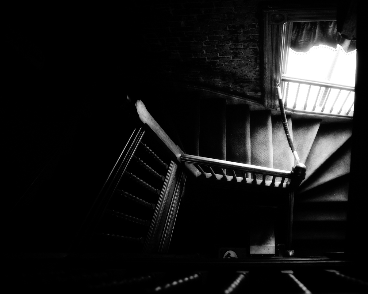 The staircase leading to the servant's quarters, where Billy Lemp's illegitimate son is believed to have fallen to his death.