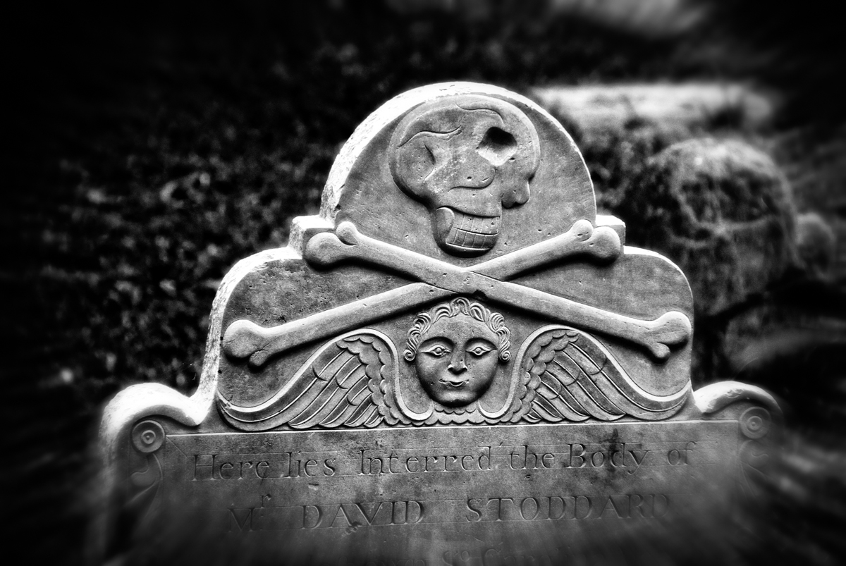 Skull and Crossbones Tombstone Carving, St. Philips Episcopal Church, Charleston, South Carolina. Contrary to popular belief, this isn't the tombstone of a pirate. Nor is the skull a cyclops, but rather it's shown in profile.