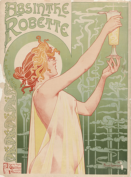 French absinthe poster from 1896 by Henri Privat-Livemont.