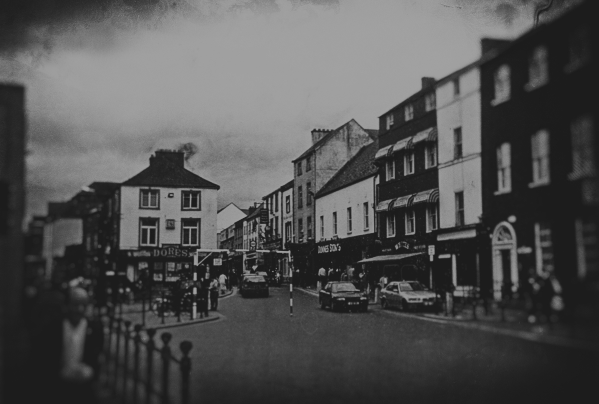 High Street in Kilkenny. The ghost of Dame Alice Kyteler and her more unfortunate servant is believed to be seen roaming the city streets at night.