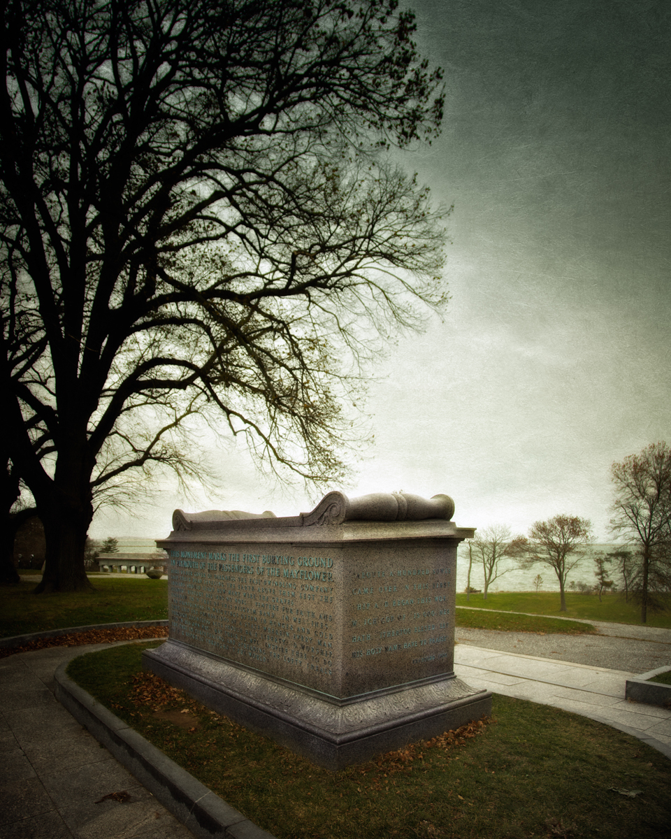 The The Sarcophagus at haunted Plymouth, overlooking the harbor