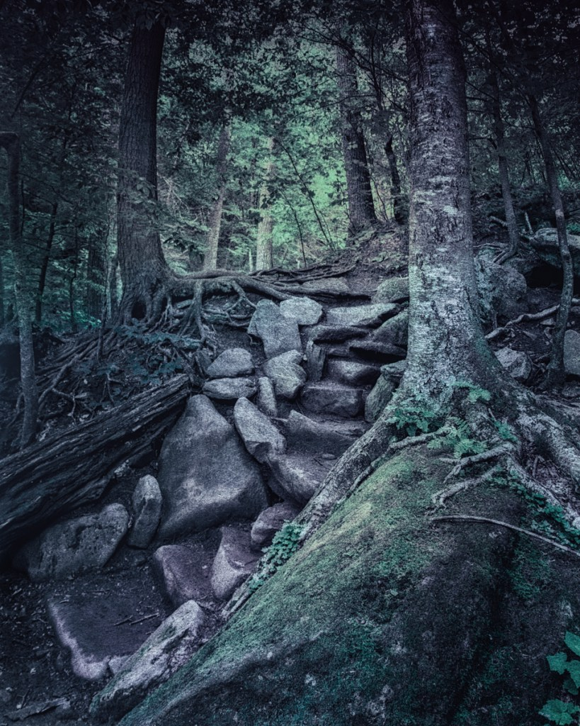 Trail to Kaaterskill Falls from Haunted Travels in the Hudson River Valley of Washington Irving, an exploration of the roots of American folk horror