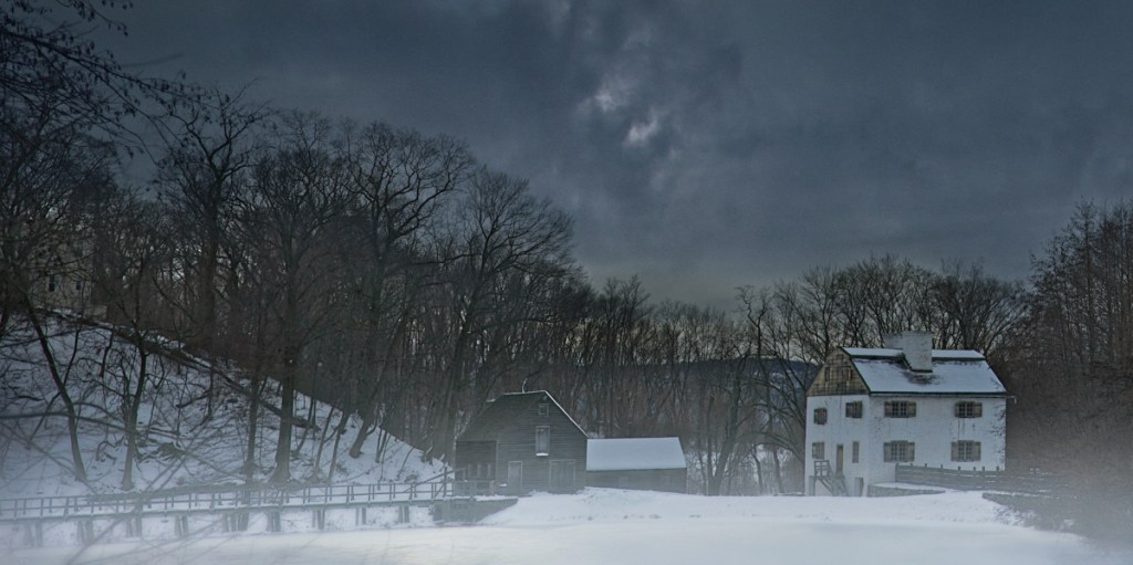 Philipsburg Manor in the snow from Haunted Travels in the Hudson River Valley of Washington Irving, an exploration of American folk horror