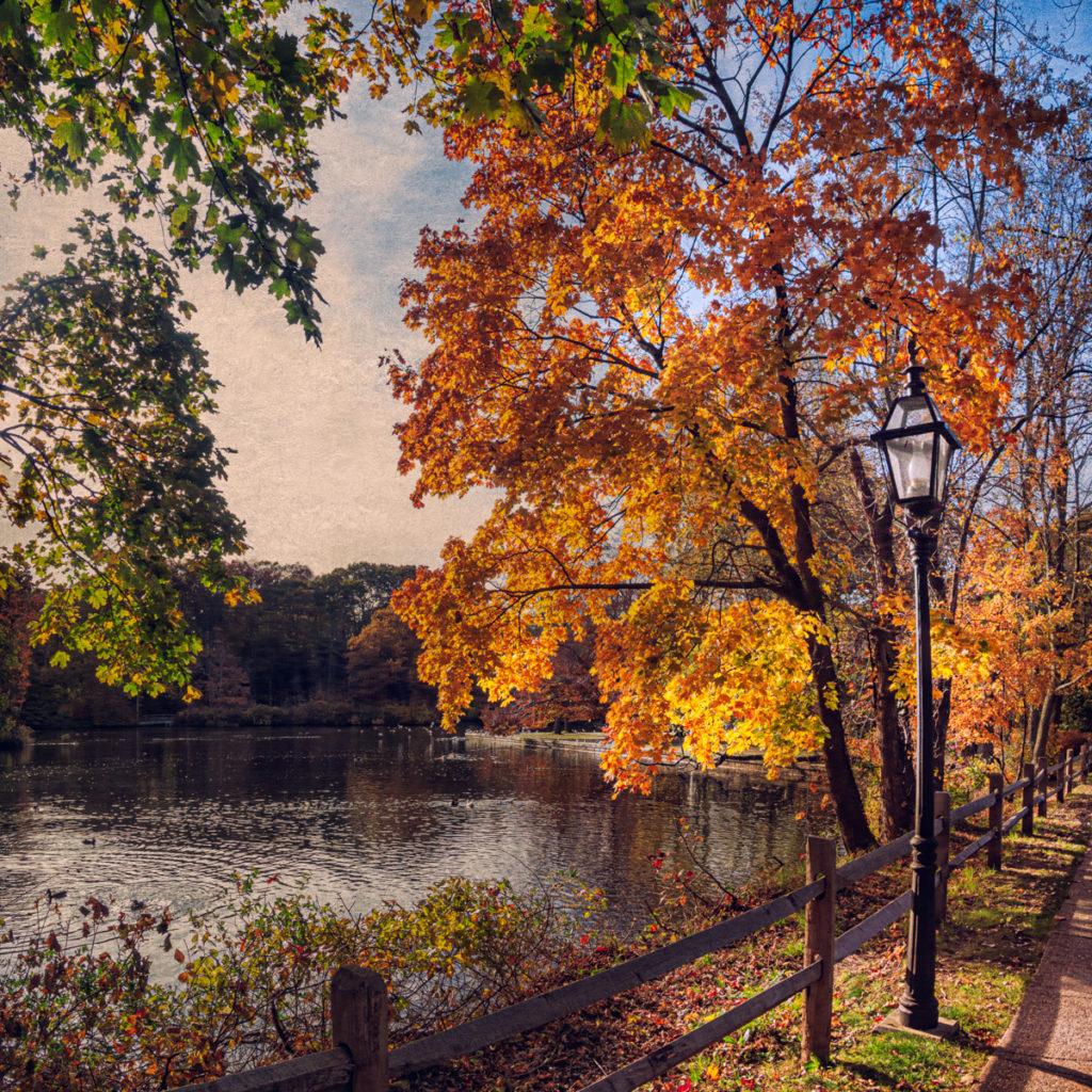 The colonial era Stony Brook Mill Pond on Long Island