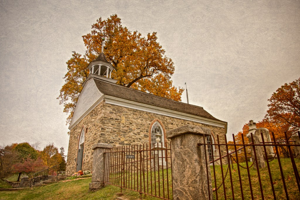 Legend of Sleepy Hollow Setting: Old Dutch Church of Sleepy Hollow, c. 1685, in the Fall. Sleepy Hollow, Tarrytown, Westchester County, New York