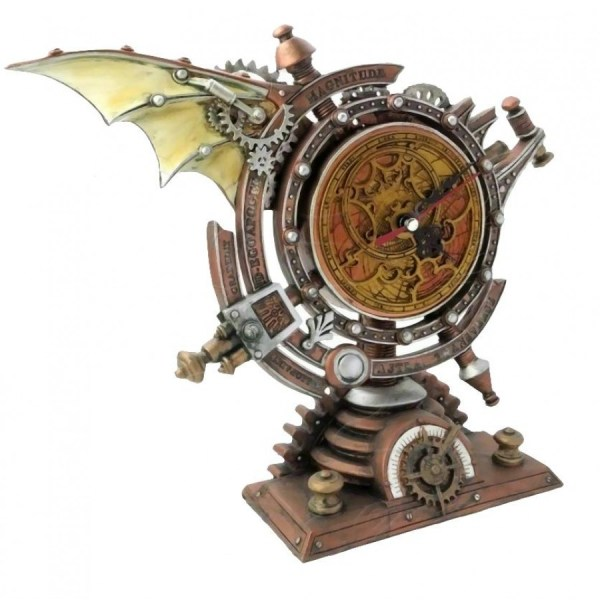 Stormgrave Winged Steampunk Pedestal Mantle Clock - Clocks