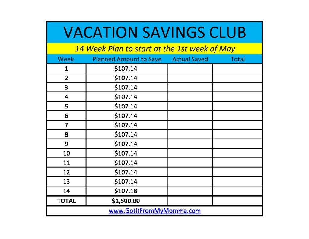 Vacation Saving Club Worksheet 14 Week Plan