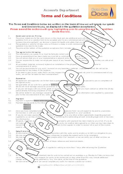 Gas Forms: Quotation Acceptance Form