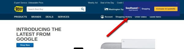 Rapid Rewards Shopping Button Best Buy
