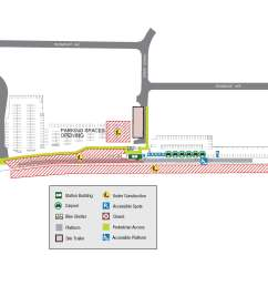 construction map showing parking and walkway changes at agincourt go [ 3400 x 2200 Pixel ]