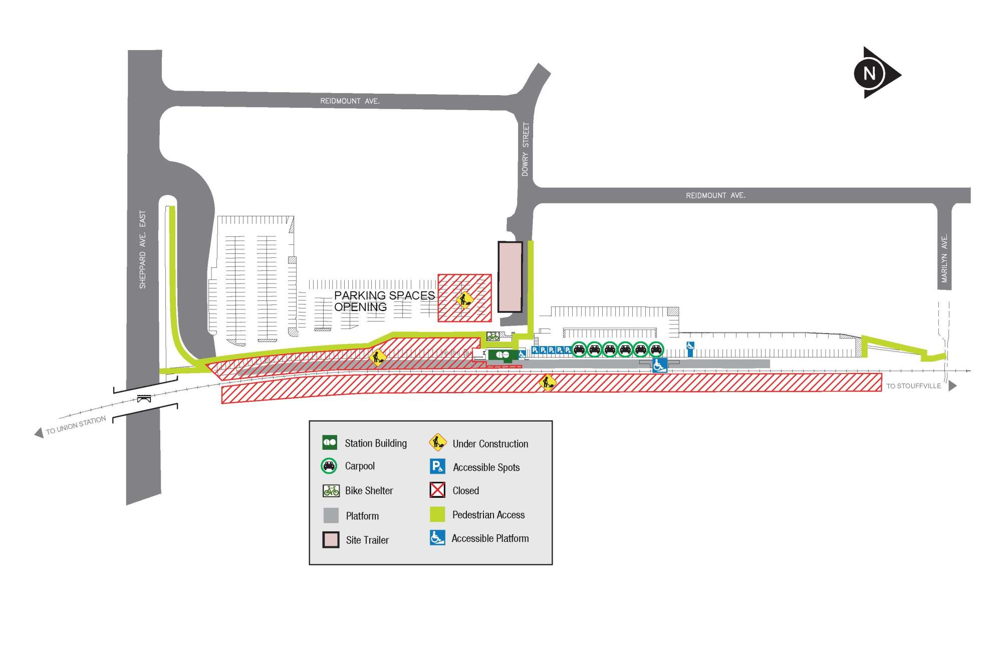 hight resolution of construction map showing parking and walkway changes at agincourt go