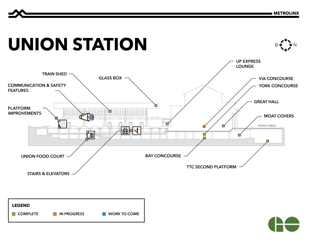 medium resolution of map showing completed and upcoming work at union station