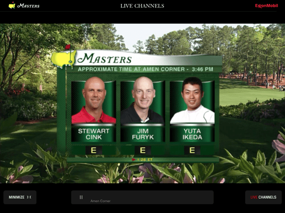 The Masters Golf Tournament app video feed