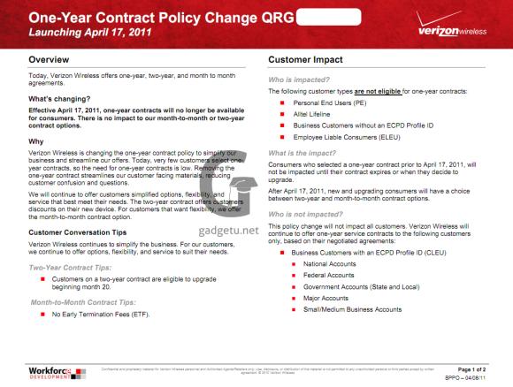 Verizon 1-Year Contracts Are Dead