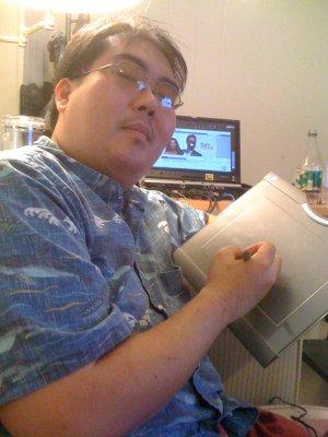Me with a Wacom Bluetooth Tablet