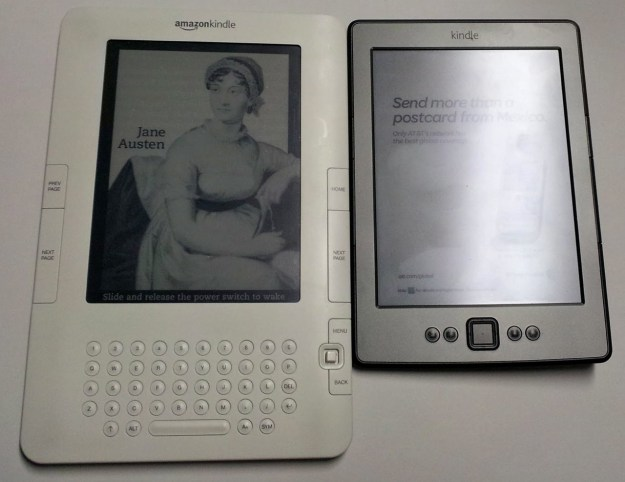 Side-by-side comparison of the 2nd gen and 4th gen Kindle