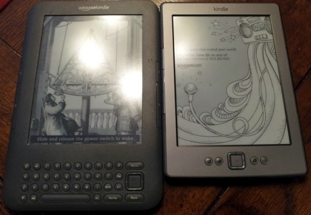 Side-by-side comparison of the 3rd and 4th gen Kindles