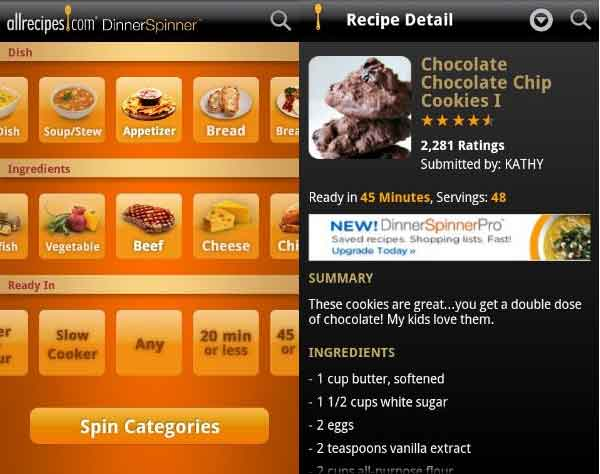 AllRecipes.com Dinner Spinner for Android