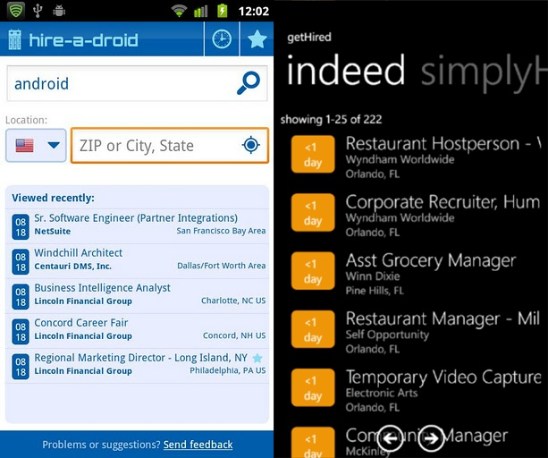 hireadroid and getHired job search apps