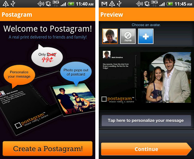 postagram postcards app for android