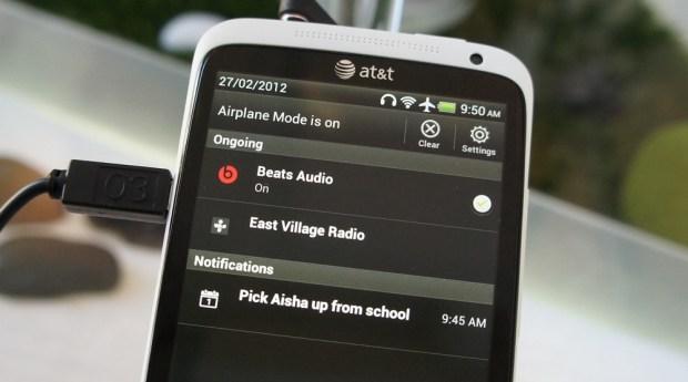 HTC One X Beats Audio Notification Tray