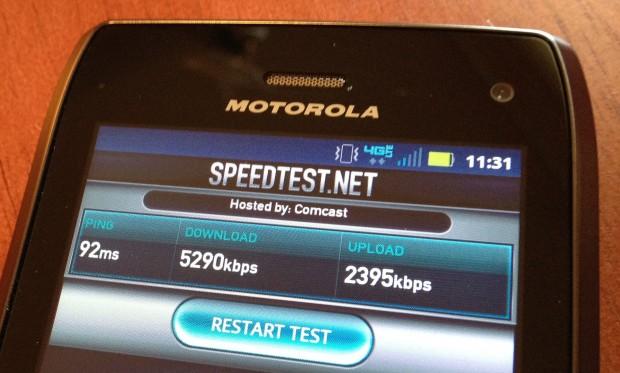 Droid 4 4G LTE Speed Test