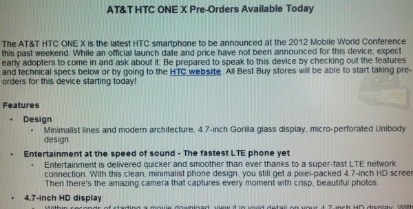 AT&T HTC One X Pre-Orders Begin at Best Buy