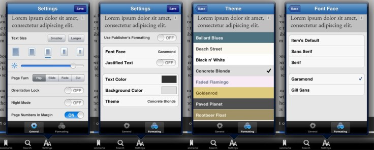Bluefire Reader - Reading Customization Options