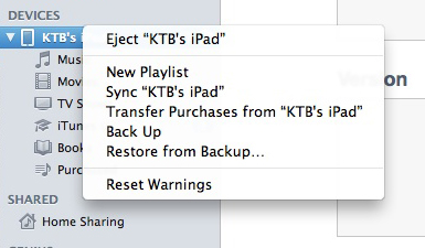 iTunes - iPad Right Click Menu