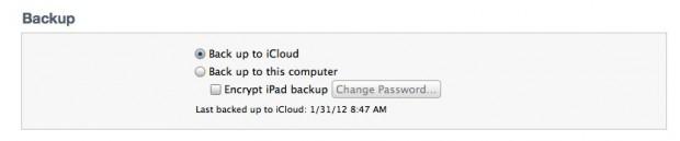 iTunes iPad Backup