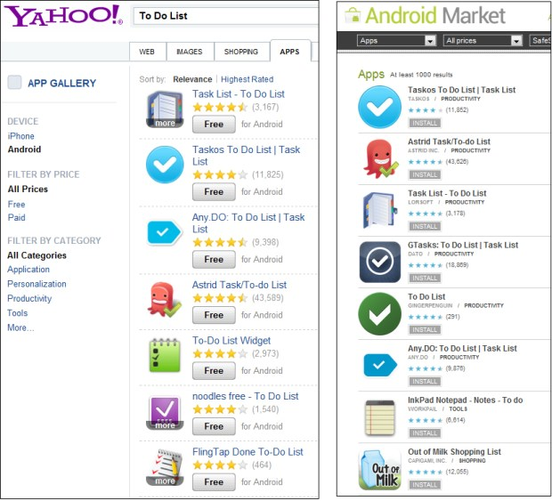 Yahoo App Search and Android Market comparison search to do list