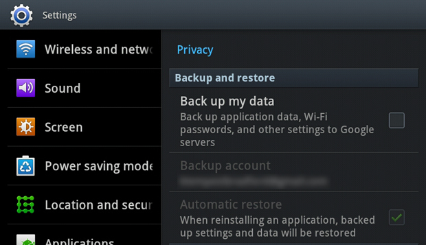 Android Built-in Backup and Restore