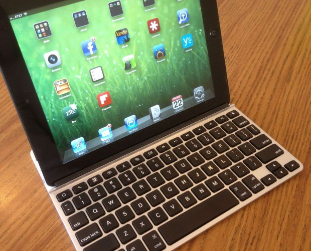 ZAGGfolio Keyboard outside the case with iPad in Landscape