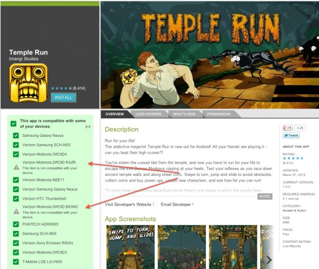 Temple Run Droid Bionic Droid RAZR