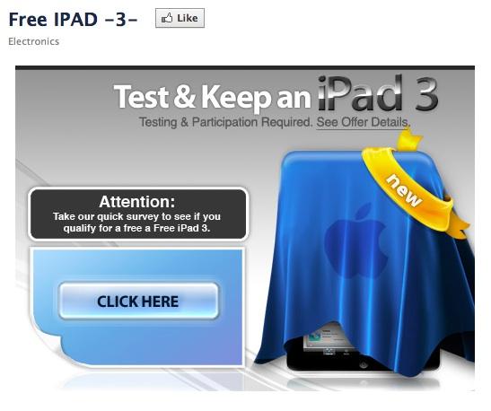 free ipad 3 facebook page