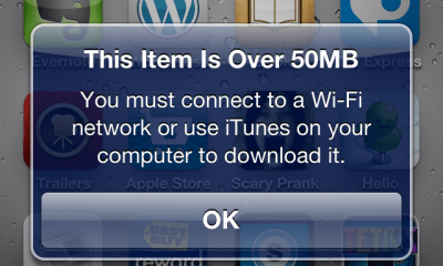 iOS App Download 50MB Limit