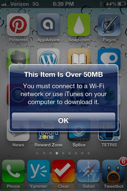 iOS App Download 50MB Limit