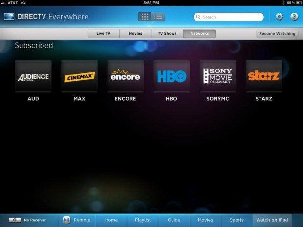 DirecTV for iPad Adds Streaming On The Go