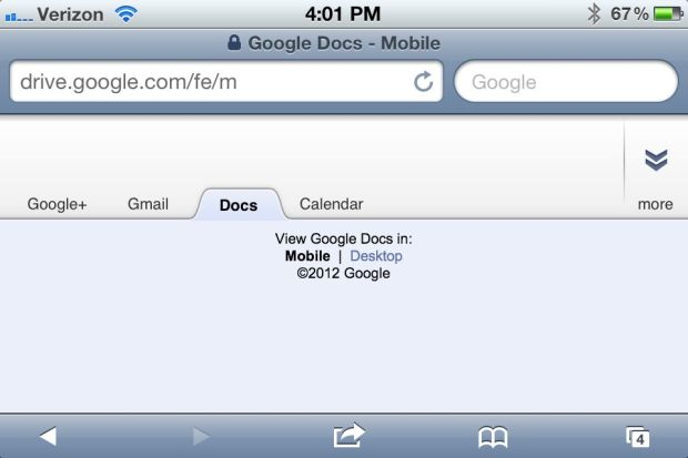 Google Drive iPhone iPad - webpage fail