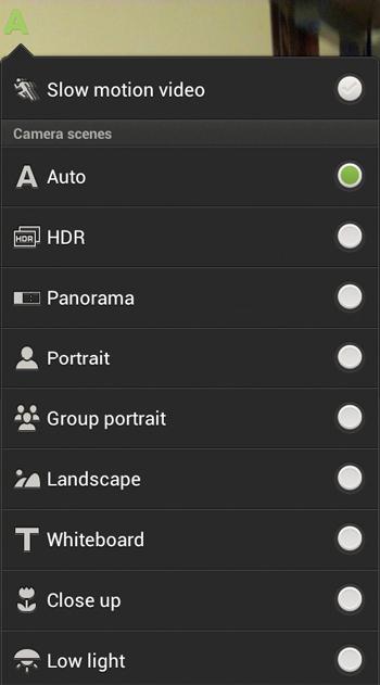 HTC One S Camera App - Scene Mode