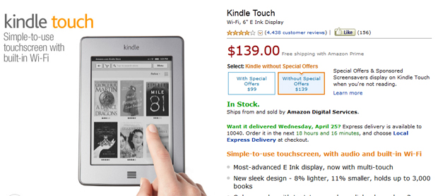 Kindle Touch price